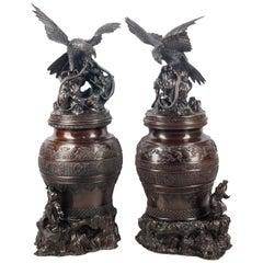 Pair of Japanese Meiji Period Bronze Koros