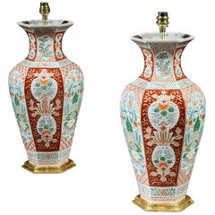 Pair of Japanese Meiji Period Red Ground Vases Now Mounted as Lamps