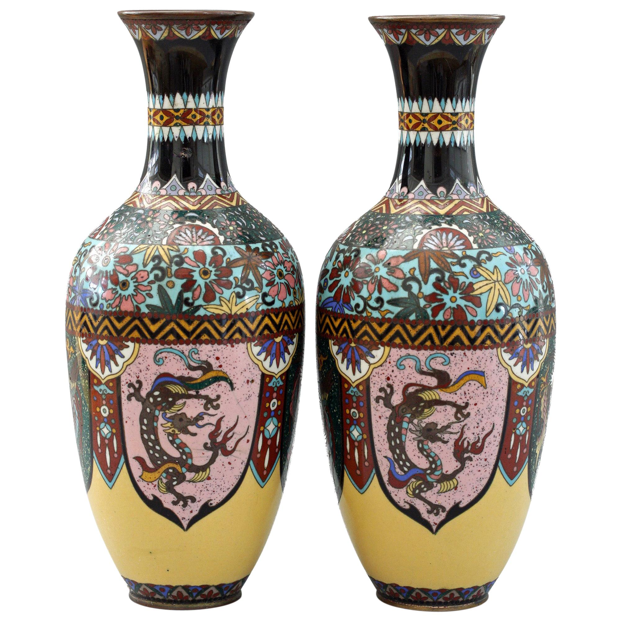 Pair of Japanese Meiji Rooster and Dragon Panel Cloisonné Vases