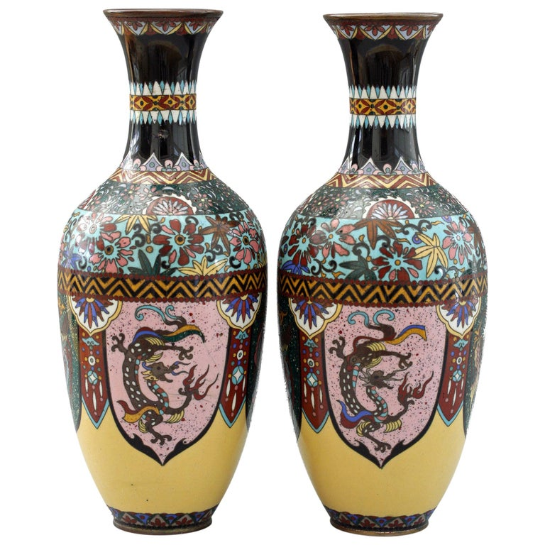 Pair of Japanese Meiji Rooster and Dragon Panel Cloisonné Vases For Sale