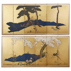 Pair of Japanese Meiji Six Panel Screens of Seasonal Landscapes