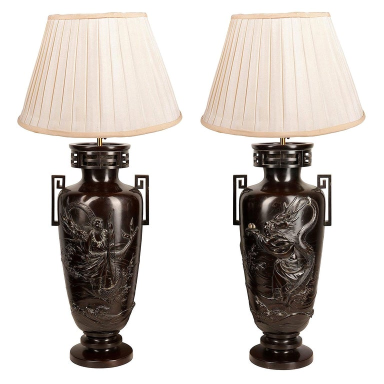 Pair of Japanese Meiji / Taisho Period '1900-1920' Cast Bronze Vases / Lamps For Sale