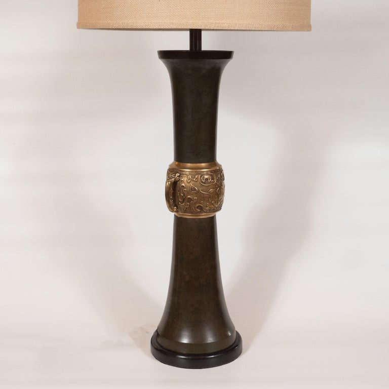 Pair of Japanese Mid-Century Modern Polished Bronze and Verdigris Table Lamps For Sale 3