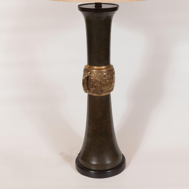 Pair of Japanese Mid-Century Modern Polished Bronze and Verdigris Table Lamps For Sale 5
