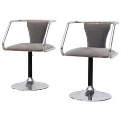 Pair of Japanese Midcentury Chrome Swivel Salon Chairs