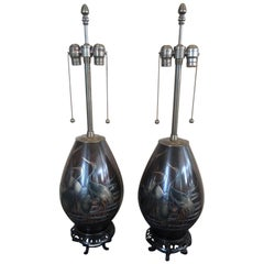 Pair of Japanese Mixed Metal Table Lamps by Marbro Lamp Company