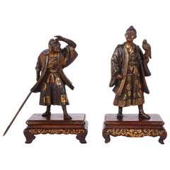 Pair of Japanese Miyao Bronze Statues, Meiji Period