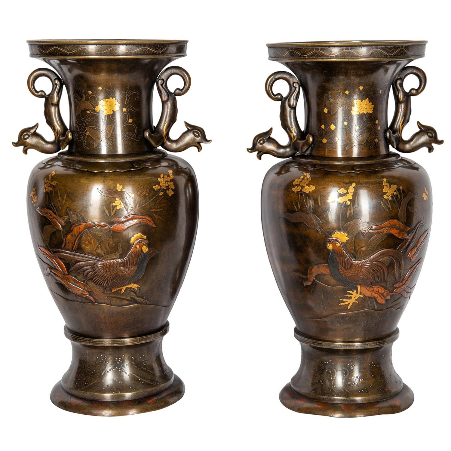 Pair of Japanese Miyao Style Bronze Engraved Vases, Late 19th Century
