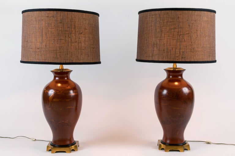 Pair of Japanese or Chinoiserie Style Urn Table Lamps by Marbro Lamp Company For Sale 3