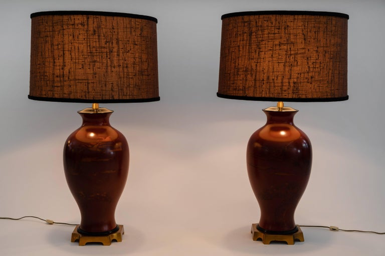 Pair of Japanese or Chinoiserie Style Urn Table Lamps by Marbro Lamp Company For Sale 4