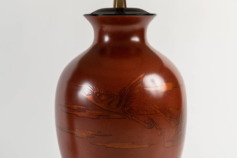Lacquered Pair of Japanese or Chinoiserie Style Urn Table Lamps by Marbro Lamp Company For Sale