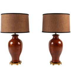 Pair of Japanese or Chinoiserie Style Urn Table Lamps by Marbro Lamp Company