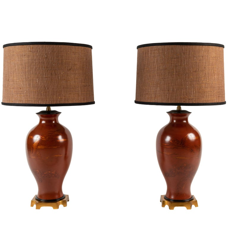 Pair of Japanese or Chinoiserie Style Urn Table Lamps by Marbro Lamp Company For Sale