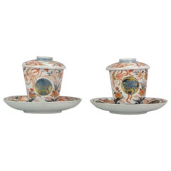 Pair of Japanese Porcelain Cup or Chocolate Beaker Saucer Imari Edo Period