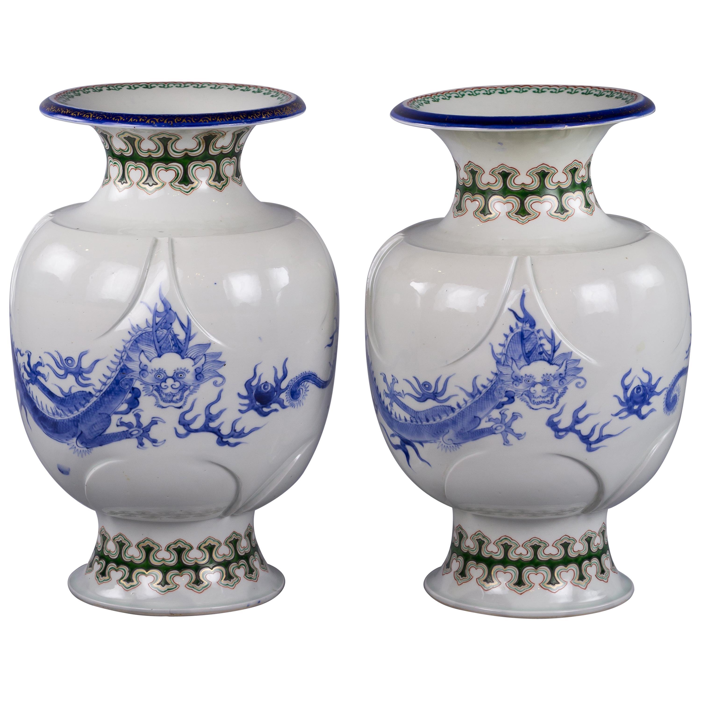 Pair of Japanese Porcelain Dragon Vases, circa 1880