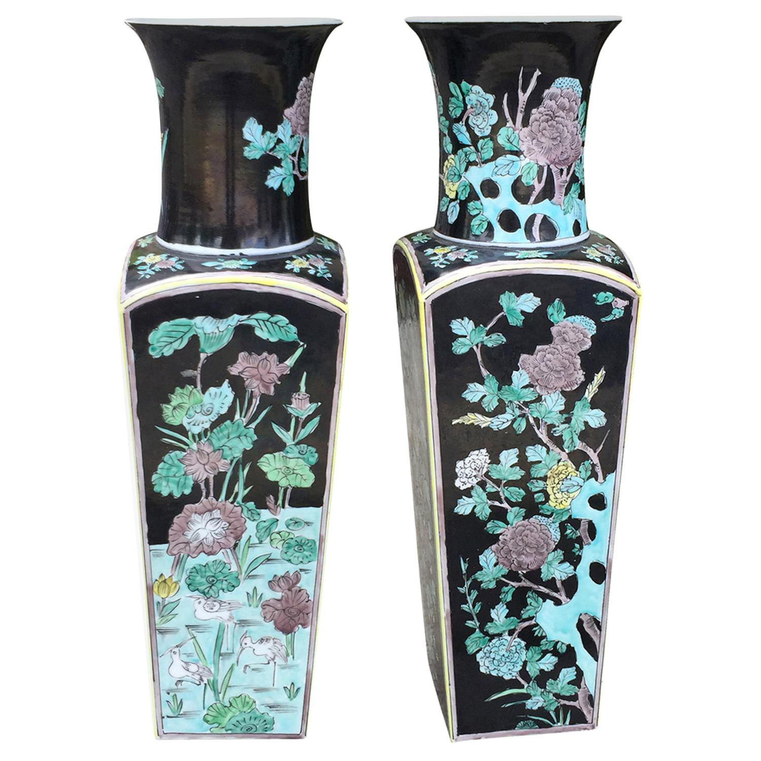 Pair of Japanese Porcelain Famille Noire Vases with Japan Sticker