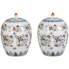 Pair of Japanese Porcelain Lidded Jars, circa 1900