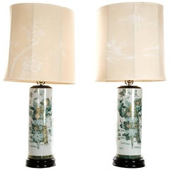 Pair of Japanese Porcelain Table Lamps with Hand-Painted Natural Imagery