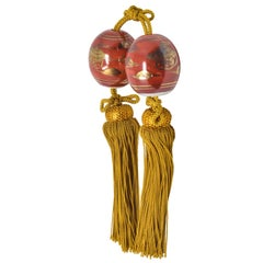 Pair of Japanese Red Gilded Porcelain Scroll Weight