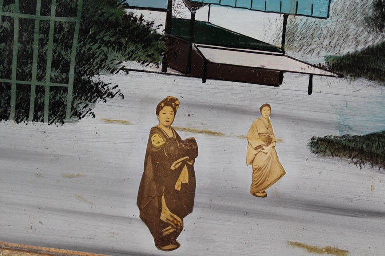 Découpage Pair of Japanese Reverse Glass Painting For Sale