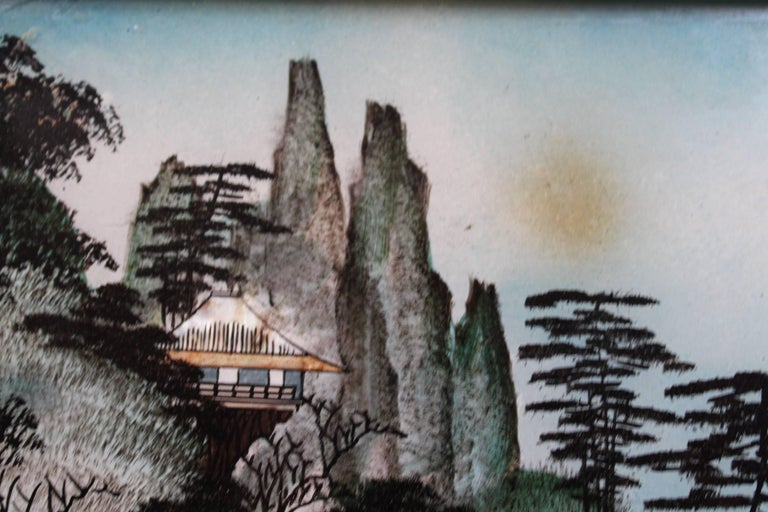 Pair of Japanese Reverse Glass Painting In Good Condition For Sale In Charleston, SC