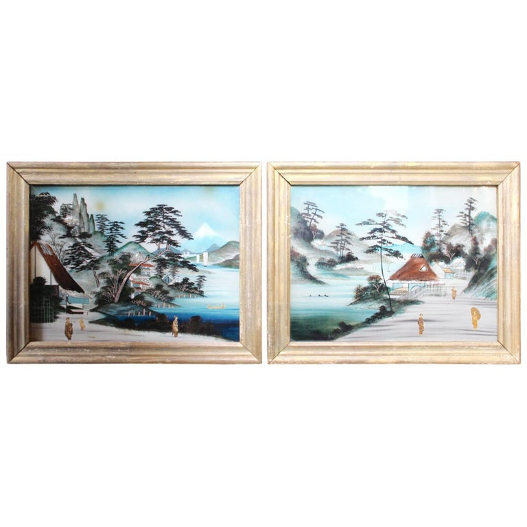 Pair Of Japanese Reverse Glass Painting For Sale At 1stdibs