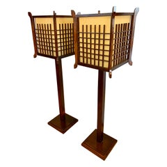 Pair of Japanese Rice Paper Floor Lamps