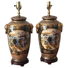 Pair of Japanese Satsuma Moriage Double Sided Hand Painted Vase Lamps