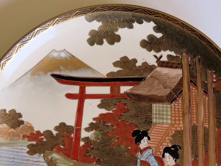 Pair of Japanese Satsuma Plates, Earthenware Hand-Painted, Meiji Period For Sale 6