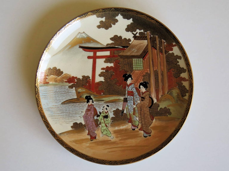 Pair of Japanese Satsuma Plates, Earthenware Hand-Painted, Meiji Period For Sale 7