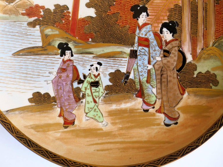 Pair of Japanese Satsuma Plates, Earthenware Hand-Painted, Meiji Period For Sale 8