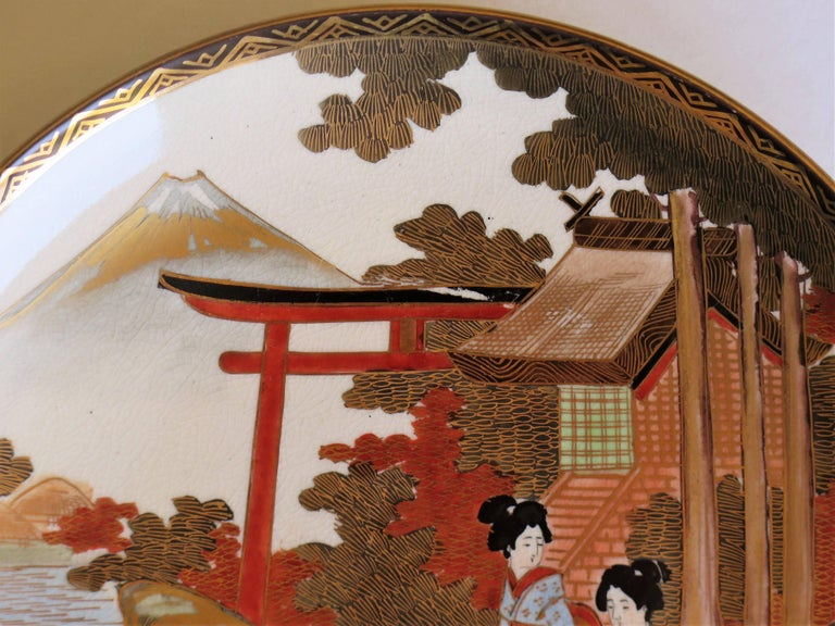 Pair of Japanese Satsuma Plates, Earthenware Hand-Painted, Meiji Period For Sale 9