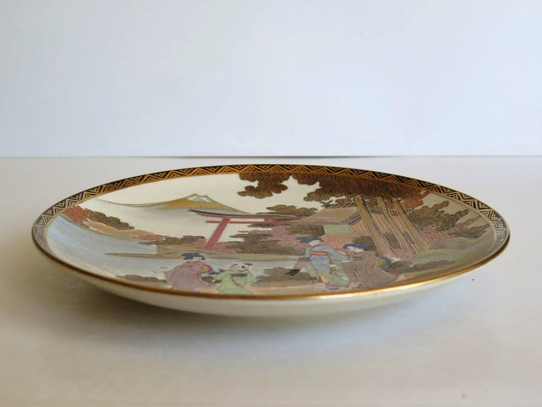 Pair of Japanese Satsuma Plates, Earthenware Hand-Painted, Meiji Period For Sale 10