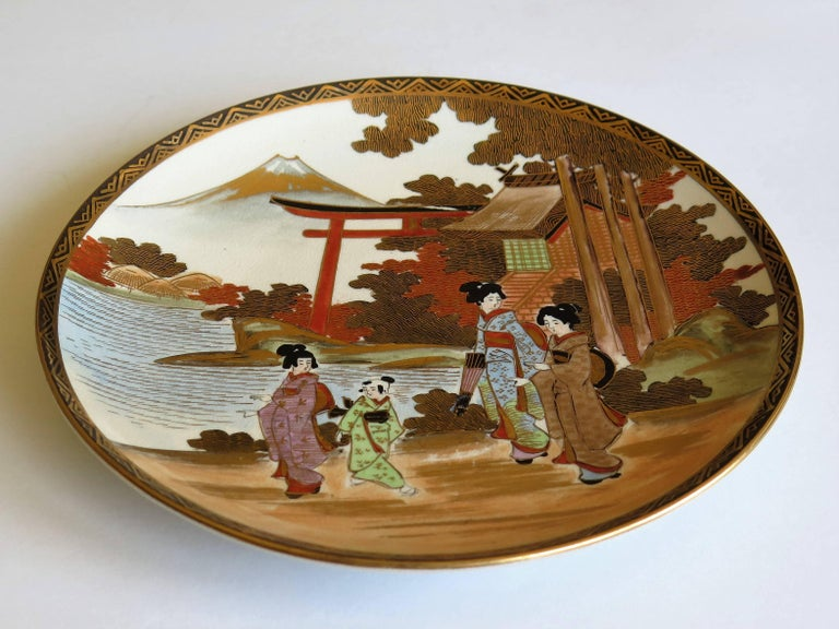 Pair of Japanese Satsuma Plates, Earthenware Hand-Painted, Meiji Period For Sale 11