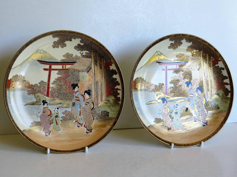 Pair of Japanese Satsuma Plates, Earthenware Hand-Painted, Meiji Period In Good Condition For Sale In Lincoln, Lincolnshire