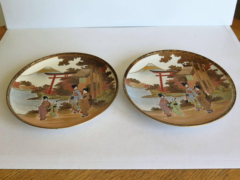 19th Century Pair of Japanese Satsuma Plates, Earthenware Hand-Painted, Meiji Period For Sale