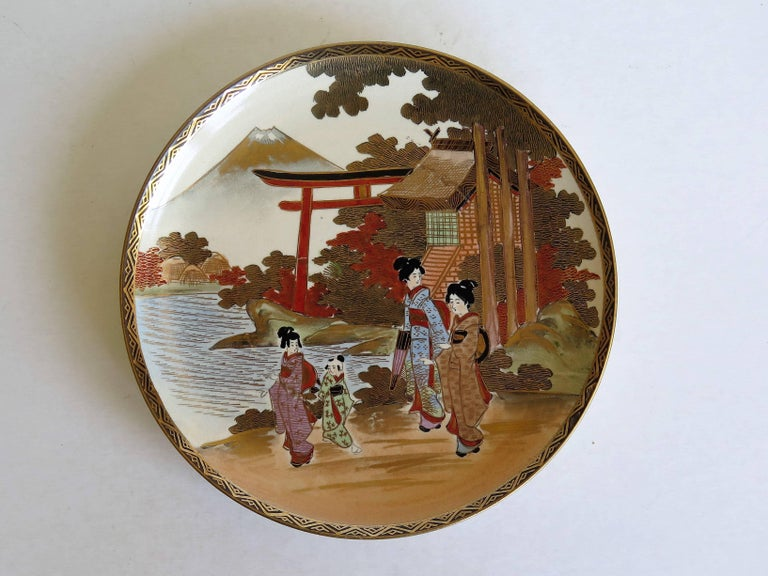 Pair of Japanese Satsuma Plates, Earthenware Hand-Painted, Meiji Period For Sale 3