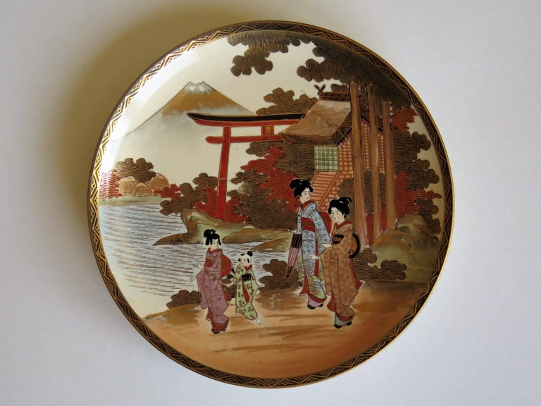 Pair of Japanese Satsuma Plates, Earthenware Hand-Painted, Meiji Period For Sale 4