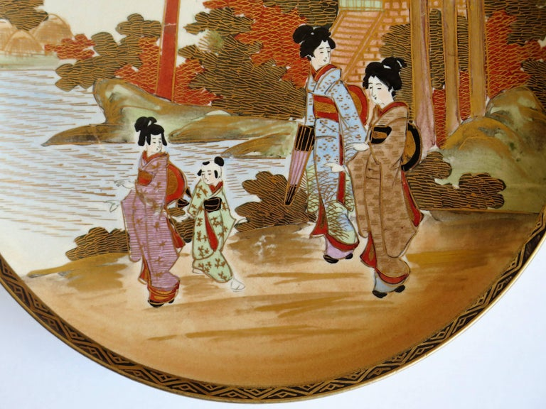 Pair of Japanese Satsuma Plates, Earthenware Hand-Painted, Meiji Period For Sale 5
