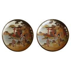 PAIR of Japanese Satsuma Plates Earthenware Hand-Painted Meiji Period Circa 1900