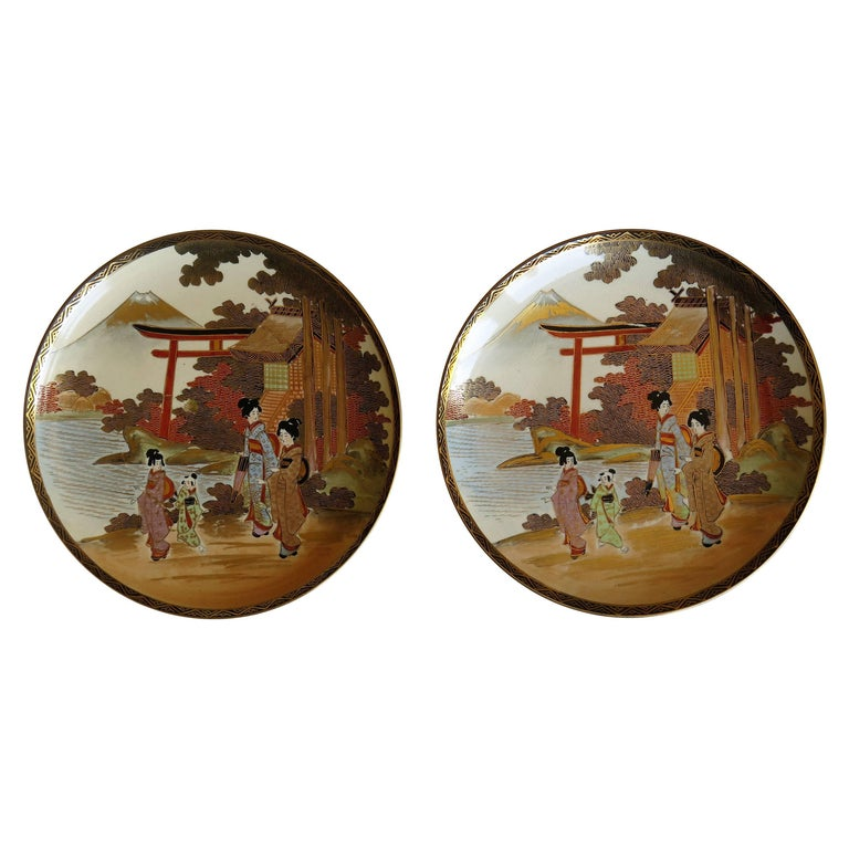 Pair of Japanese Satsuma Plates, Earthenware Hand-Painted, Meiji Period For Sale