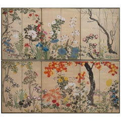 Pair of Japanese Screens with Flowers of the Four Seasons, 19th Century