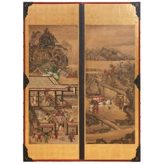 Pair of Japanese Scrolls Mounted as Panels