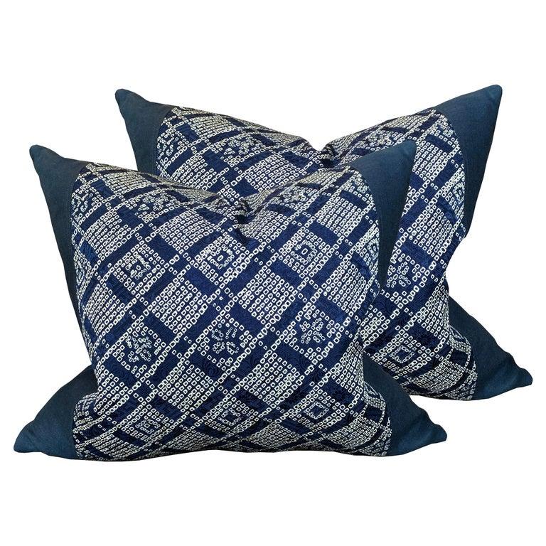 Pair of Japanese Shibori Indigo Pillows For Sale