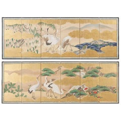 Pair of Japanese Six Panel Meiji Crane Landscape Screens