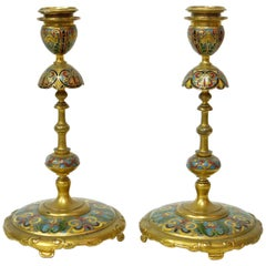 Pair of Japanese Style Candlesticks by Ferdinand Barbedienne