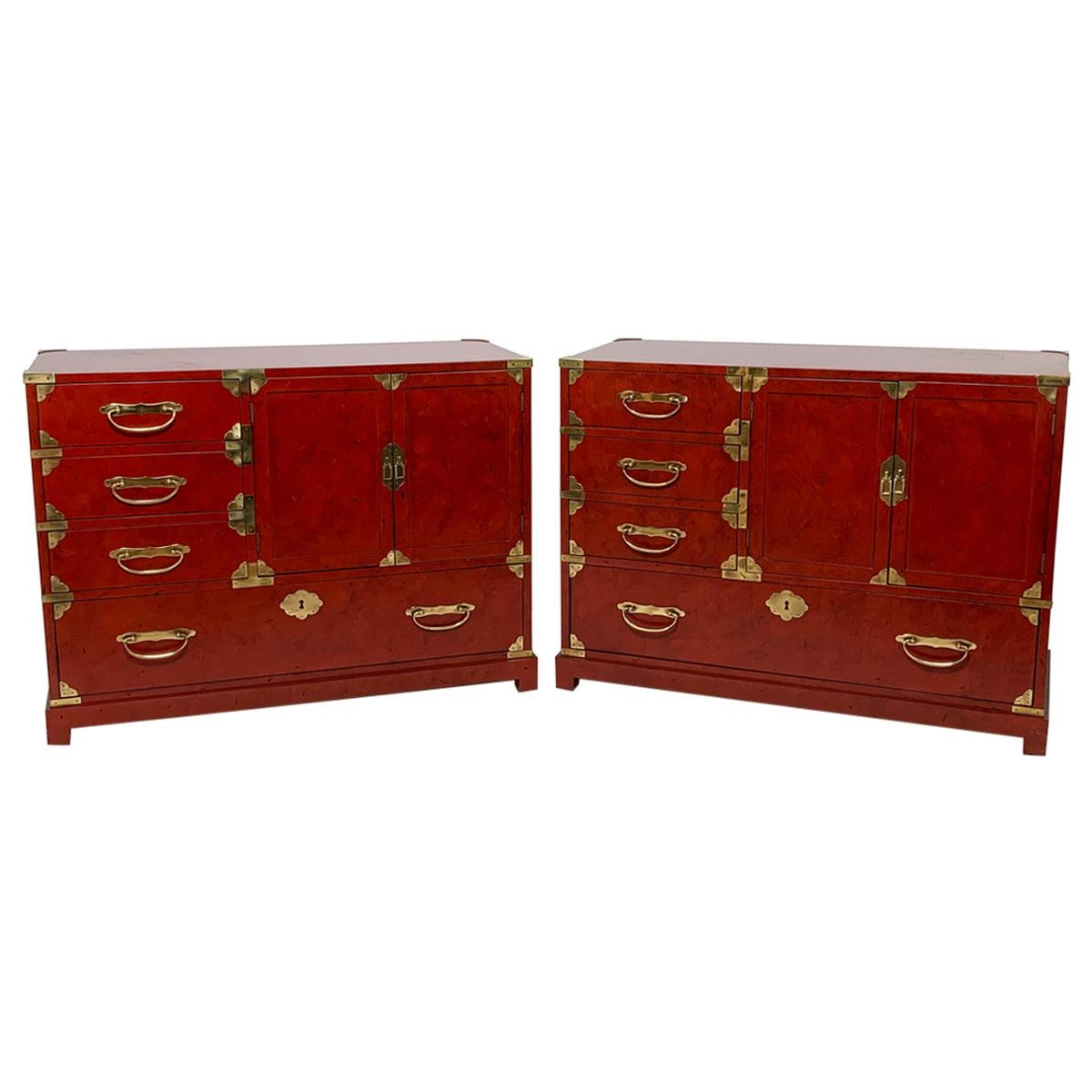 Pair of Japanese Tansu Style Cabinets by Century Furniture