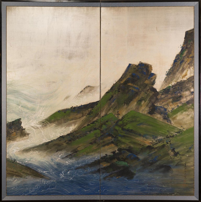 Pair of Japanese Two Panel Screens with Rocky Coastal Landscape on Silver Design For Sale 5