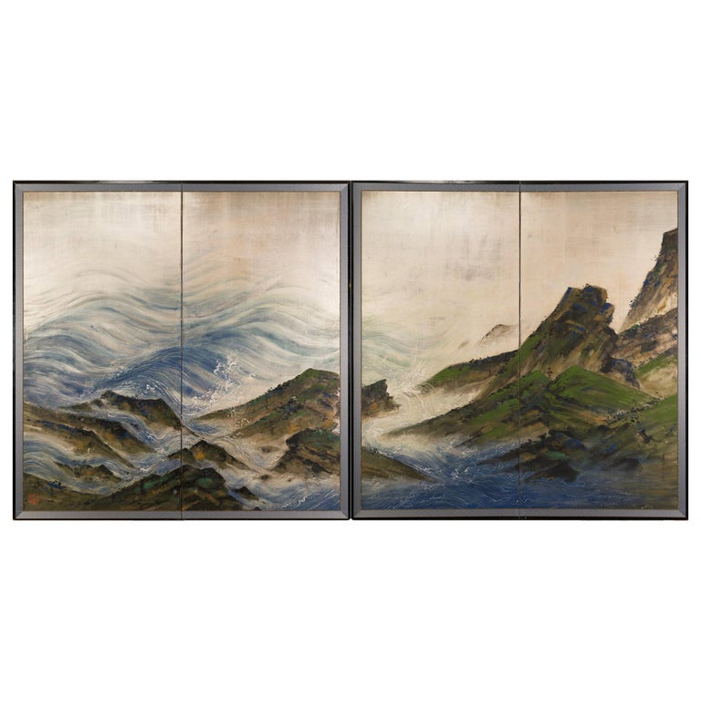 Pair of Japanese Two Panel Screens with Rocky Coastal Landscape on Silver Design For Sale