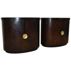 Pair of Java Tone Oval Cabinets by Henredon
